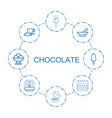 8 chocolate icons vector image vector image