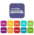 ambulance car icons set vector image vector image