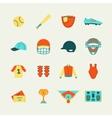 Baseball icons set flat vector image vector image