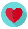 Broken Heart Circle Icon with long Shadow vector image vector image