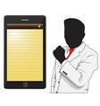 business man and phone vector image vector image