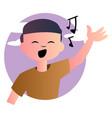 cartoon boy singing on white background vector image vector image
