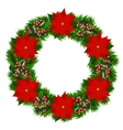 christmas wreath with poinsettia vector image