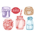 collection of hand drawn pastel jars vector image vector image