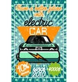 Color vintage electric car poster vector image vector image