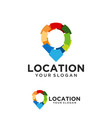 colorful pin location symbol logo vector image vector image