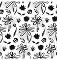 contrast hand drawn ink flowers pattern vector image vector image