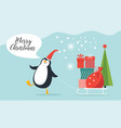 cute funny pengguin vector image vector image