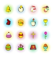 Easter set icons comics style vector image vector image