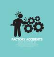 factory accidents black symbol vector image vector image