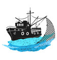 fishing boat with nets vector image vector image