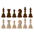 flat vecror set of chess pieces brown and beige vector image