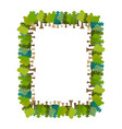 frame is tree rectangular forest background vector image vector image