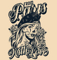 from paris with love vintage poster vector image