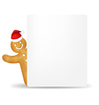Gingerbread Man With Santa Hat And Blank Gift Tag vector image vector image
