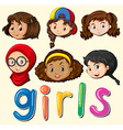 Girls with happy face vector image vector image