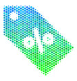 halftone blue-green discount tag icon vector image vector image