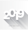 happy new year 2019 card theme gray long shadow vector image vector image