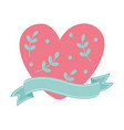 happy valentines day cute heart with leaves love vector image