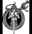 Knight and Roaring Dragon vector image vector image