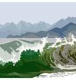 landscape raging green sea vector image