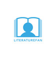 literature fan logo silhouette a man reading a vector image vector image