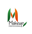 m letter icon for makeup beauty salon vector image