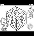 maze with robots for coloring vector image vector image