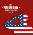military with flag in day veterans war vector image vector image