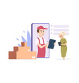 online delivery concept delivery man vector image vector image