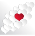 Paper hearts background with alone red heart vector image vector image