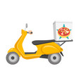 pizza delivery scooter cartoon vector image vector image