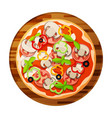 round classic pizza with mushrooms olives basil vector image