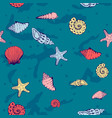 seamless nautical pattern with shells vector image vector image