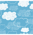 seamless pattern of hand drawn doodle clouds vector image vector image