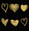 set hand drawn hearts in golden style isolated vector image