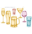 set hand drawn pastel glass mug beer vector image