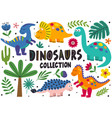 set isolated cute dinosaurs part 2 vector image vector image