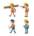 set of geometric workers cartoons vector image vector image