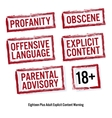 Set Of Red Rectangular Stamps Adults Only Grungy vector image