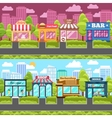 Shops and stores city street vector image vector image