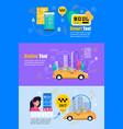 taxi smartphone service flat web banner set vector image vector image