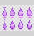 transparent purple drops vector image vector image