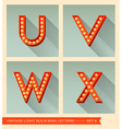 Vintage light bulb sign letters u v w x vector image