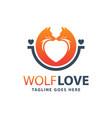 wolf animal love logo design vector image vector image