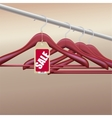 Wooden hangers with sale tag vector image