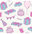 Hand drawn birthday party seamless pattern vector image