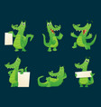 alligator characters wildlife crocodile amphibian vector image