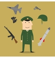 Army soldier and military objects vector image
