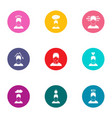 attitude icons set flat style vector image vector image